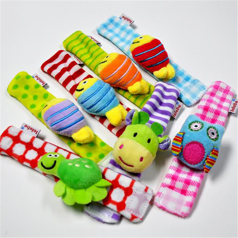 Cute Cartoon Animal Early Education Soft Hand Bell Rattles Kids Plush Toys Baby Wrist Rattle Toys