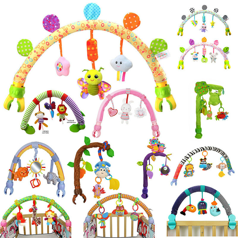 Rainbow Baby Hanging Toys Stroller Bed Crib Plush Stroller Mobile Gifts Animals Zebra Lion Rattles For Tots Cots Rattles Seat