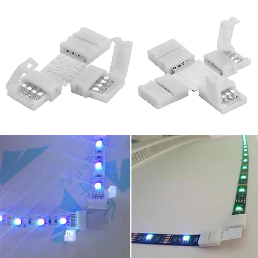 10 Mm Connector 4 Pin L T Cross Vorm Pcb Solderless Hoek Connector Strip Connector Voor Rgb 3528 5050 Led strip Clip-On Koppeling