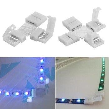 1 sztuk 4Pin RGB L T X kształt złącze LED klip Homeuse łączenie kąt narożny 5050 listwy RGB LED światło Solderless płytka drukowana 10mm