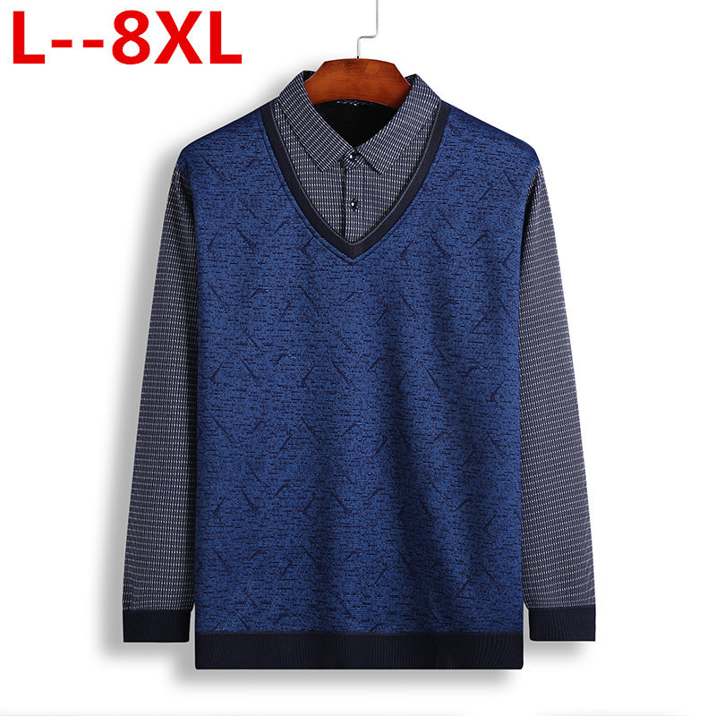 8XL 6XL 5XL 4XL Cashmere Sweater Men Clothes  Autumn Winter Thick Warm Wool Pullover Men Business Casual Pull Homme Sweaters