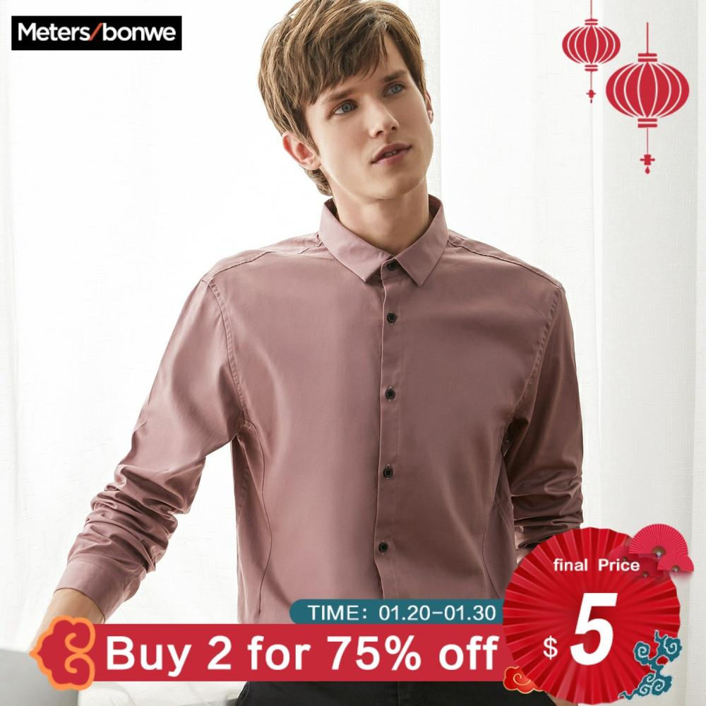 Metersbonwe Brand Men Casual Shirts Spring Autumn Male Slim Rose Brown Long Sleeve Shirts Regular Cotton Male Basic Tops 723318