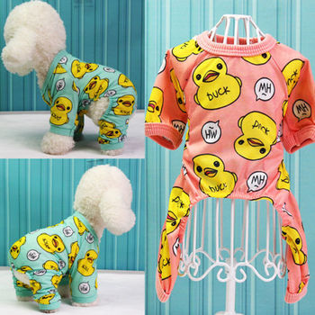 Cute Duck Dog Pajamas Cotton Small Dog Clothes Chihuahua Yorkie Bichon Pug Costume Puppy Clothing for Dog Jumpsuit Drop Shipping image