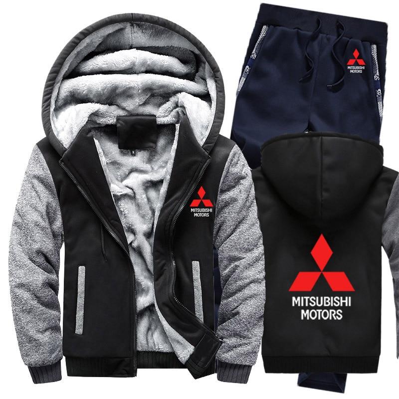 Hoodies Men Mitsubishi Car Logo Mens Hoodies Suit Winter Thicken Warm Fleece Cotton Zipper Tracksuit Mens Jacket+Pants 2Pcs Sets