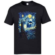 Art Watercolor Design Print Tshirts Van Gogh Starry Night Tardis Men camisa Christmas Tshirt Best Gift Pure Cotton Fashion Tees