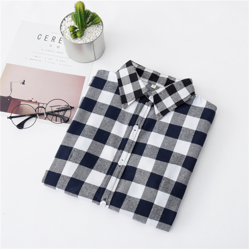 2020 New Women Blouses Brand New Excellent Quality Cotton 32style Plaid Shirt Women Casual Long Sleeve Shirt Tops Lady Clothes 7