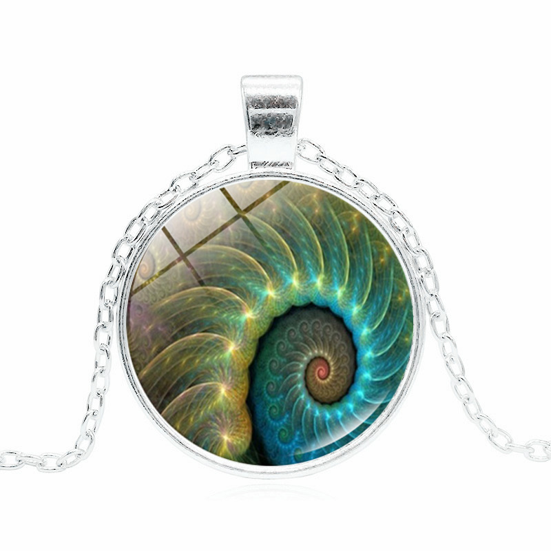 <font><b>Fibonacci</b></font> Spiral Photo Tibet Silver Cabochon Glass <font><b>Pendant</b></font> Necklace Handmade DIY Jewelry Statement Necklace for Women Gifts image