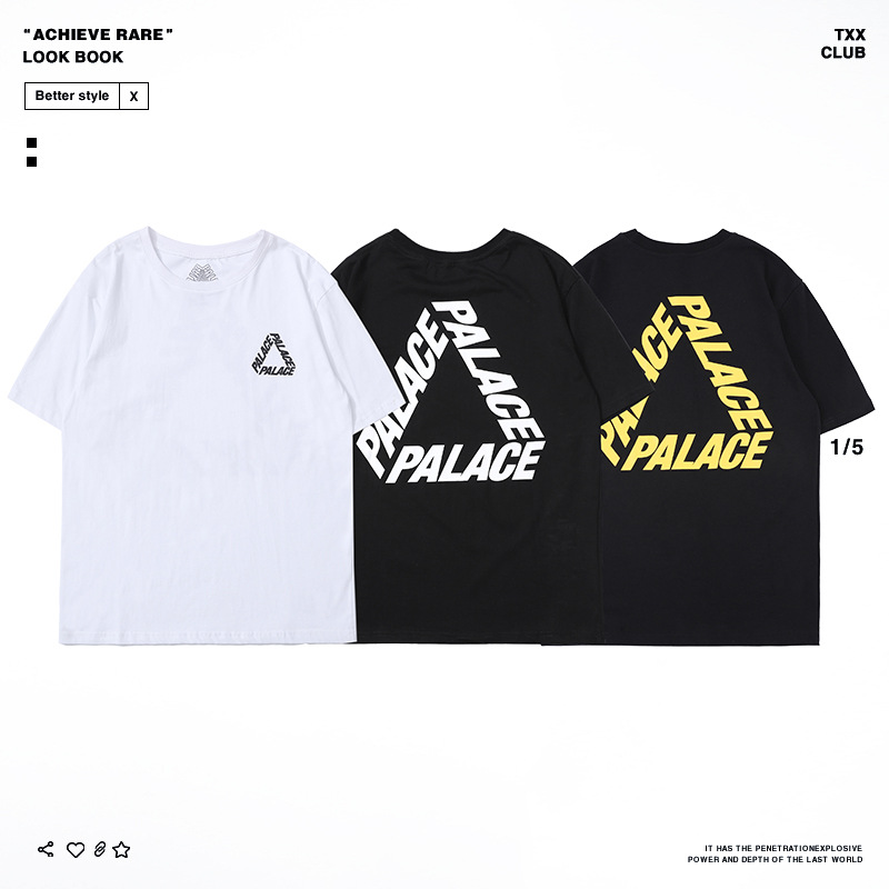 Palace Life 18 Europe And America Popular Brand Summer New Style Men'S Wear Triangular Printed Letter Men's Leisure T-shirt
