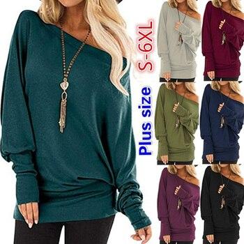 2021 Spring Women Loose Top Shirt Bat Long Sleeve Off Shoulder Blouse Female Sweatshirts Harajuku Big Plus Size 5XL leaf printed plus size off shoulder asymmetric top
