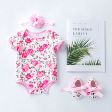 2019 baby girls summer romper headband clothing newborn infant baby children rompers bow shoes party birthday gift for new born newborn baby girls infant clothing tutu romper dress headband shoes christmas birthday set m09