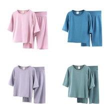 Kids Sleepwear Clothing-Sets Pajamas-Set Short Boys Solid-Color Children Summer Pant