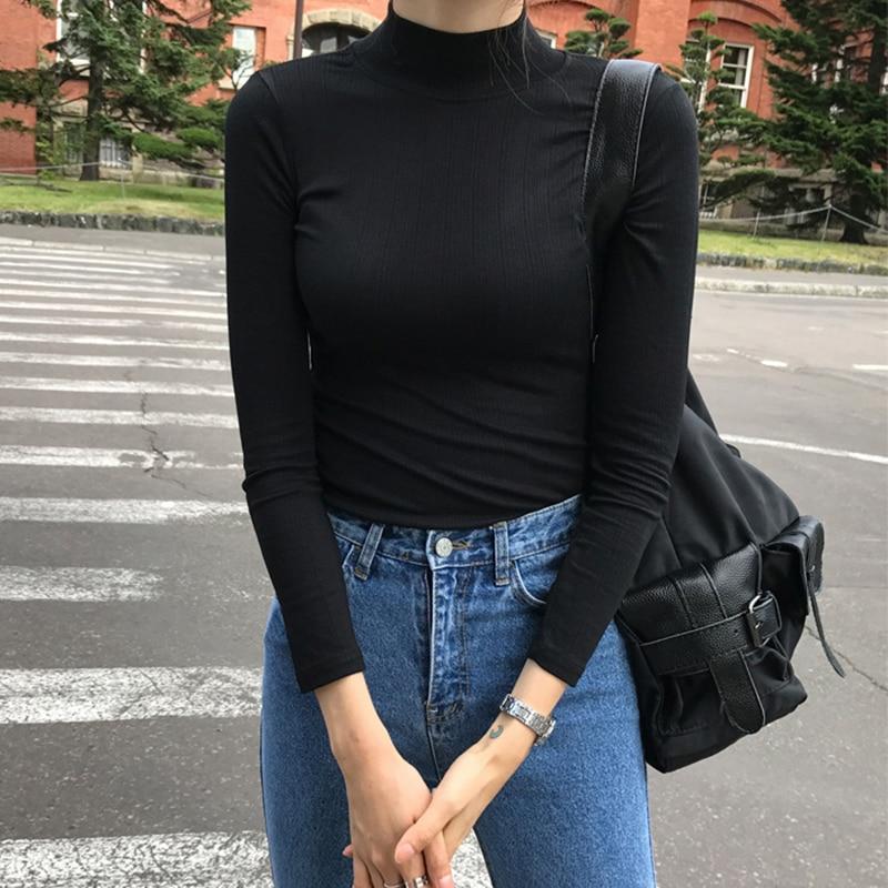 MRMT 2019 Brand New Autumn and Winter Women's T-shirt Cotton Long Sleeve Half High Neck Slim T-shirt for Female Tops Tshirt