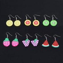 Boucles d'oreilles en forme de Fruit pour femmes et enfants, 6 Styles, mignon, fraise, citron, Orange, raisin, pastèque, Kiwi, goutte d'eau, bijoux de fête