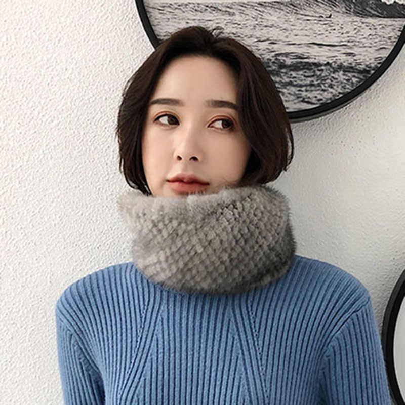 Cachecóis de pele de vison real feminino senhora inverno grosso quente real pele xale pele natural silenciador s7703
