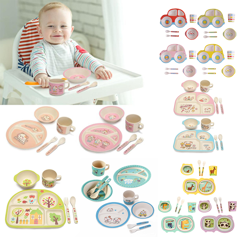 5pcs/set Eco-friendly Bamboo Fiber Baby Plate Cup Bowl Spoon Dishes 4 Slots Children Tableware Sets Baby Kids Dishes Dinnerware