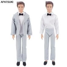 Silver Elegant Formal Wedding Suit Clothes for Ken Boy Doll Blazer Outfit for Barbie's Boyfriend Prince Ken Male Boy Men Doll