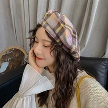 Hairy Plaid Beret Hats For Women Winter Autumn Retro for Girl Wool Octagonal Caps Girls Flat