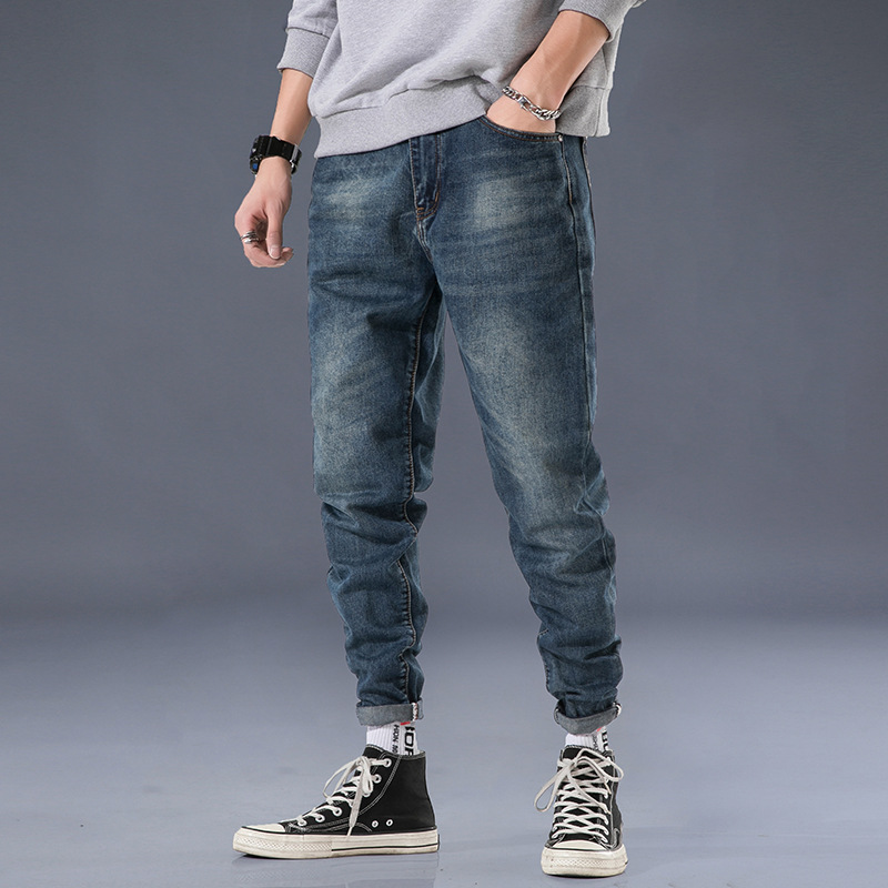 Autumn Jeans Men Loose-Fit New Style Elasticity Harem Pants Teenager Skinny Pants Japanese-style Trend MEN'S Trousers Fashion