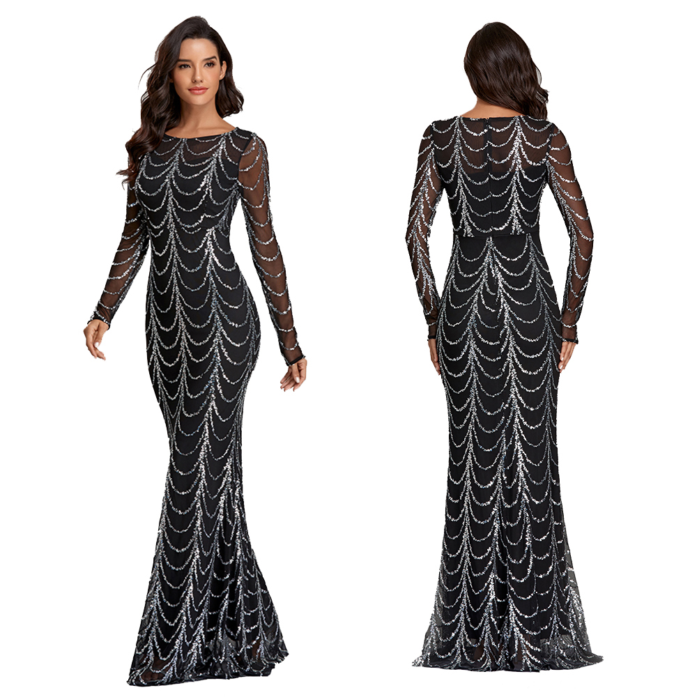 2020 Autumn Winter O Neck Wave Sequins See Though Women Maxi Dresses Elegant Long Sleeve Female Party Dresses Black Silver Pink