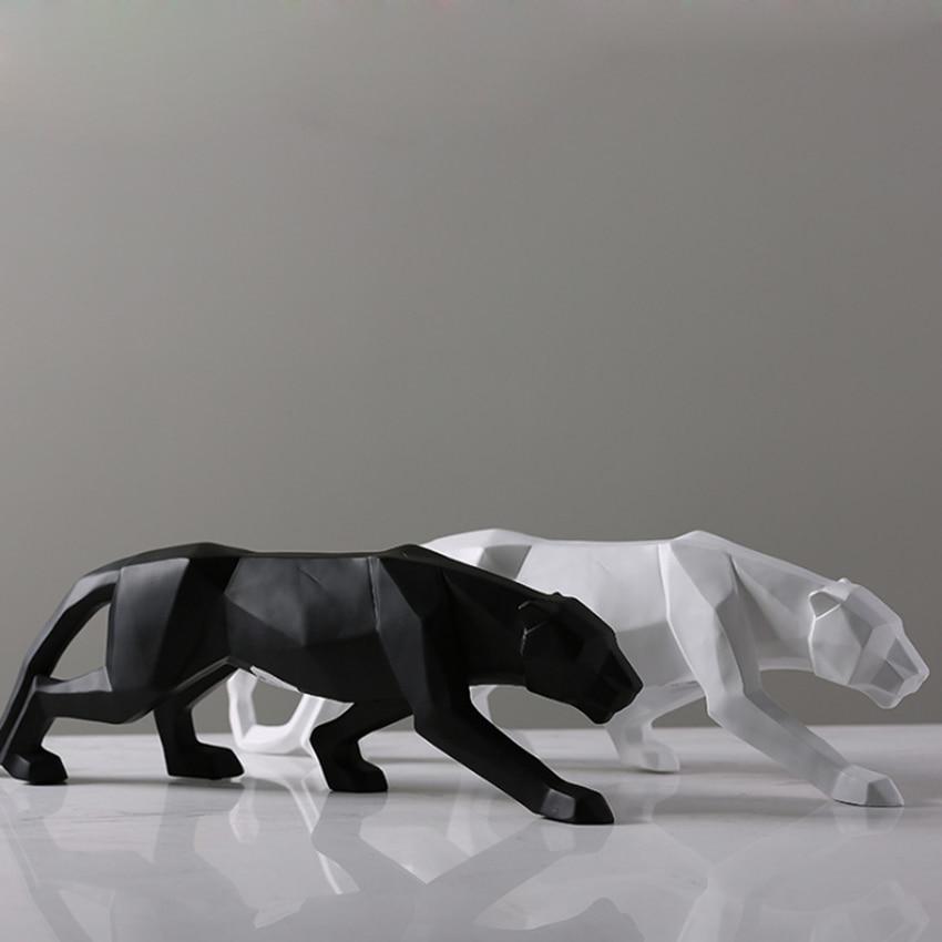 Leopard Statue Resin Geometric Animal Resin Sculpture Abstract Figurine Home Decoration/ Decor Statues Modern Beelden Decoratie