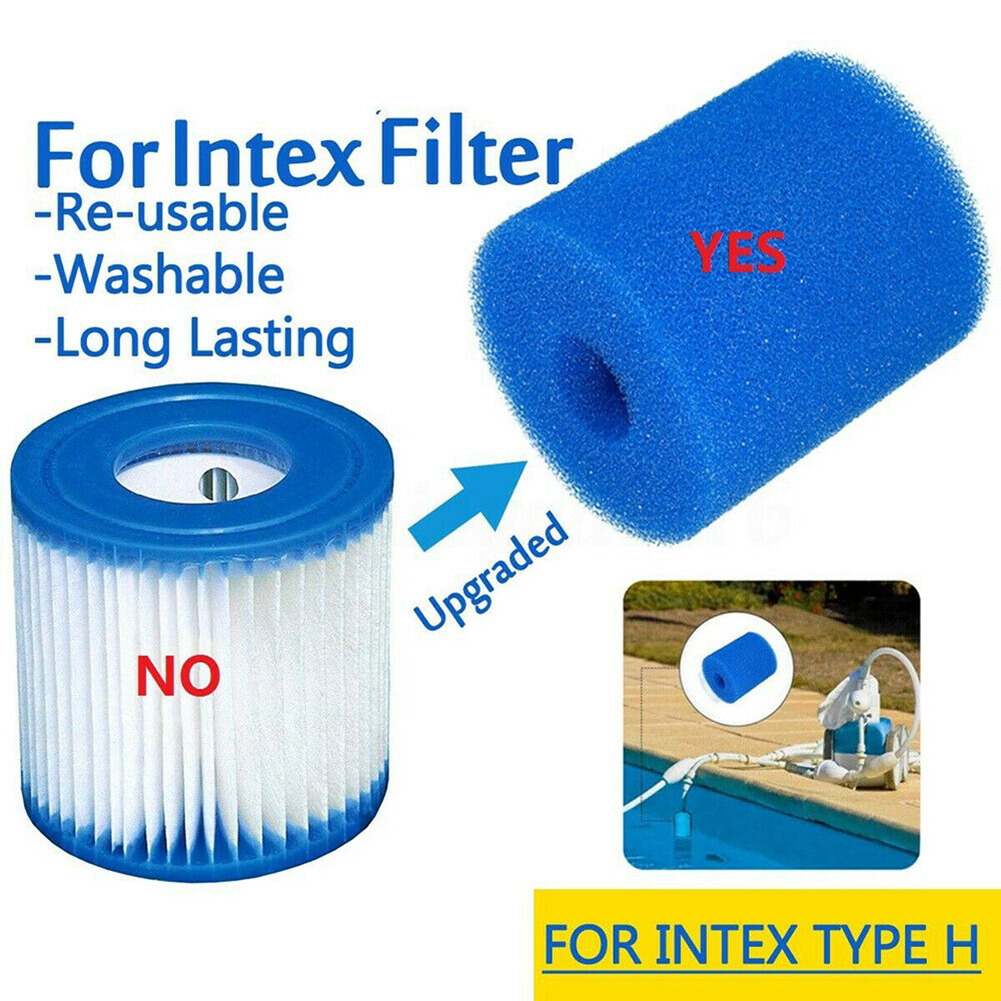 Reusable Washable Swimming Pool Filter Foam Sponge Cartridge For Intex Type H Cleaning Replacement