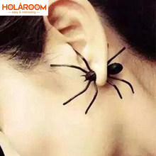 2018 del Nuovo Halloween Decorazioni 3D Creepy Black Spider Orecchio Orecchini con perno per Haloween Party Decorazioni FAI DA TE Falso Ragno Nero(China)