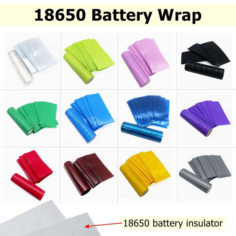 100/50/20/10PCS Pack 18650 Battery Wrap 18650 Wrapper Case Sticker Sleeve Cover Skin Insulator 18650 Vape PVC Heat Shrink