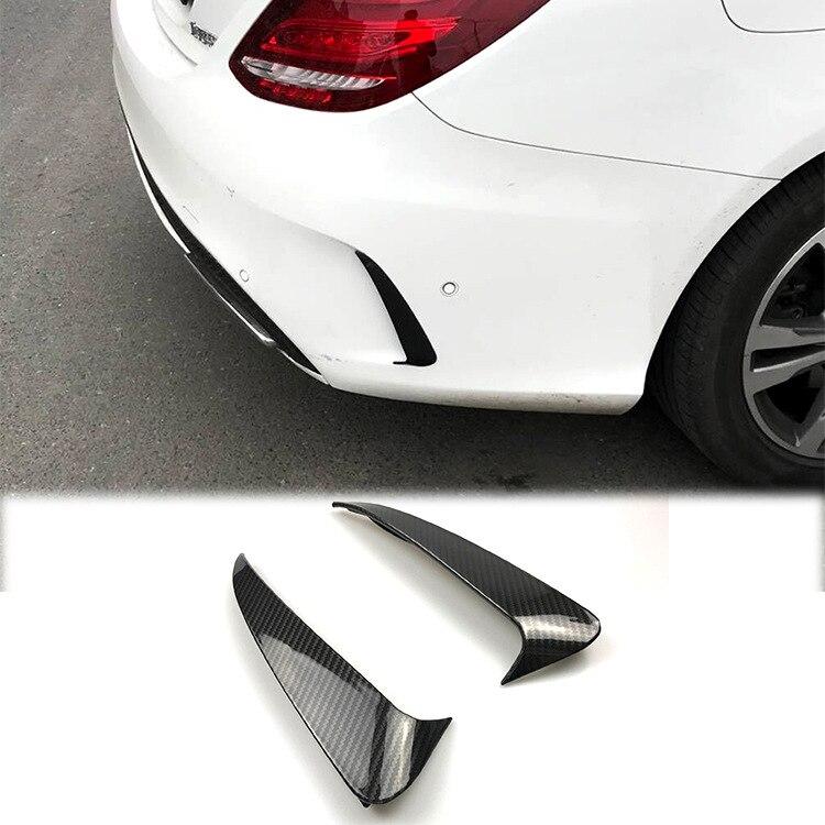 C63 Style Rear Bumper Spoiler Canard//Air Vent Cover Trim Benz C W205 C43 AMG A