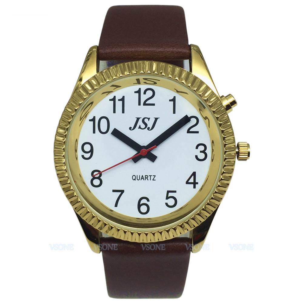 French Talking Watch With Alarm Function, Talking Date And Time, White Dial, Brown Leather Band, Golden Case TAF-206