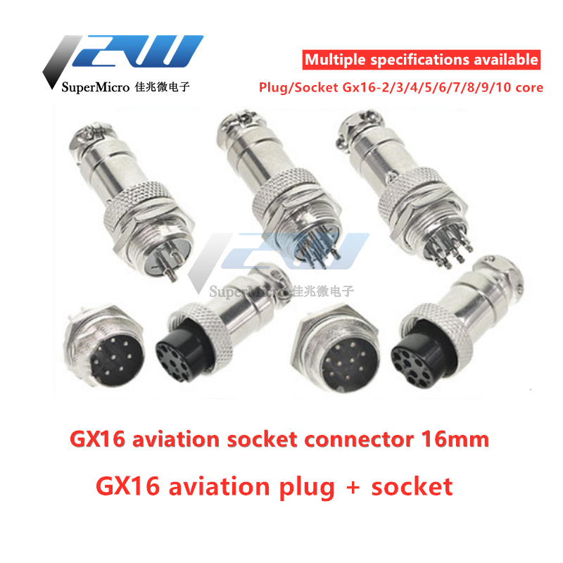 <font><b>GX16</b></font> <font><b>Male</b></font> and Female Aviation Connector Wire Panel Metal Connector 16mm <font><b>GX16</b></font>-2 / 3/4/5/6/7/8/9/10 Pin 2P Aeronautical Plug image