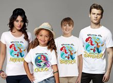 The Little Mermaid Birthday Shirt Mermaid Family Set T-Shirt Family Matching Outfits, Customized with Any Name and Age the little mermaid são paulo
