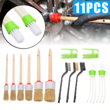 New Arrival 11pcs/set Car Interior Detailing Brush Kit Natural Boar Hair Cleaning Tool Set fro Washing Tools