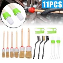 New Arrival 11pcs/set Car Interior Detailing Brush Kit Natural Boar Hair Cleaning Tool Set fro Washing Tools