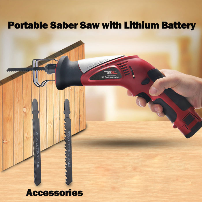 Image 4 - 2000mAh 12V Lithium Reciprocating Saw Cordless Saber Saw Portable Electric Jig Saw with Adjustable Speed for Wood Metal Cutting-in Electric Saws from Tools on
