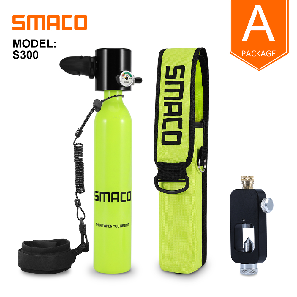 SMACO Mini Scuba Diving Tank Equipment, Dive Cylinder With 8 Minutes Capability, 0.5 Litre Capacity With Refillable Design