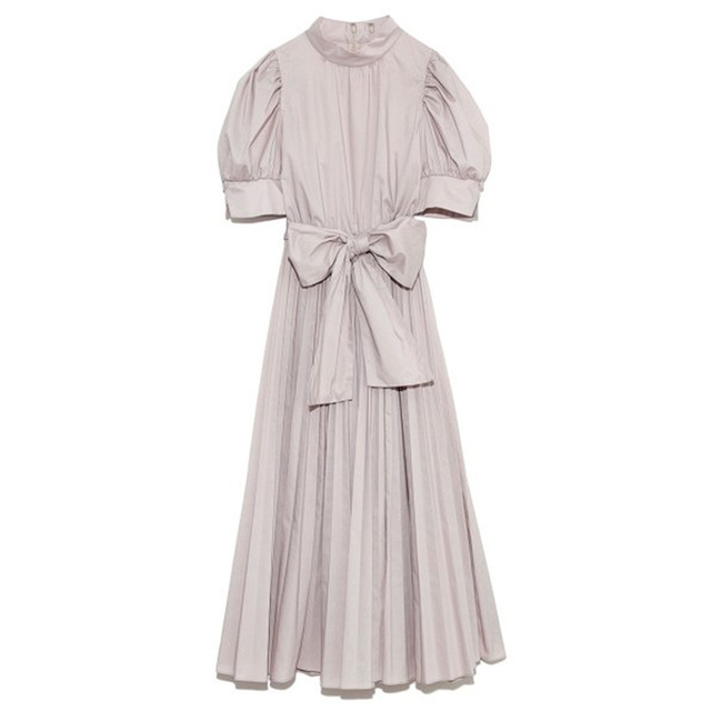 Kuzuwata 2021 Spring Summer Fashion Woman Clothing High Waist Slim Puff Sleeve Rosette Solid Dresses Japanese Sweet Vestidos 6
