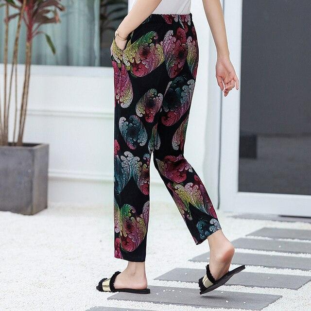 22 Colors 2020 Women Summer Casual Pencil Pants XL-5XL Plus Size High Waist Pants Printed Elastic Waist Middle Aged Women Pants 4