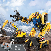CadA 930PCS 2.4G RC Deformation Robot Excavator Assembly Building Block Construction Educational Toys For Boys Girls Gift