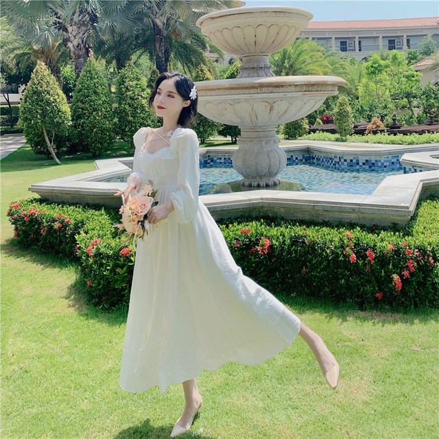 Long White Fairy Princess Dress Elegant Long-Sleeve 5