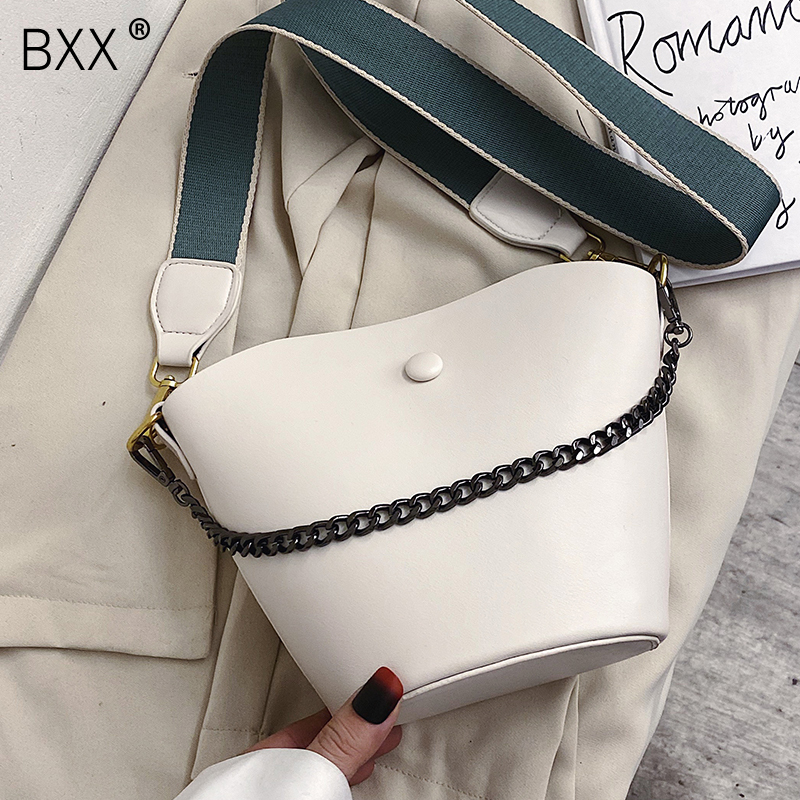 [BXX] Leather Solid Color Crossbody Bucket Bags For Women 2020 Spring Fashion Shoulder Messenger Bag Lady Chain Handbags HK516
