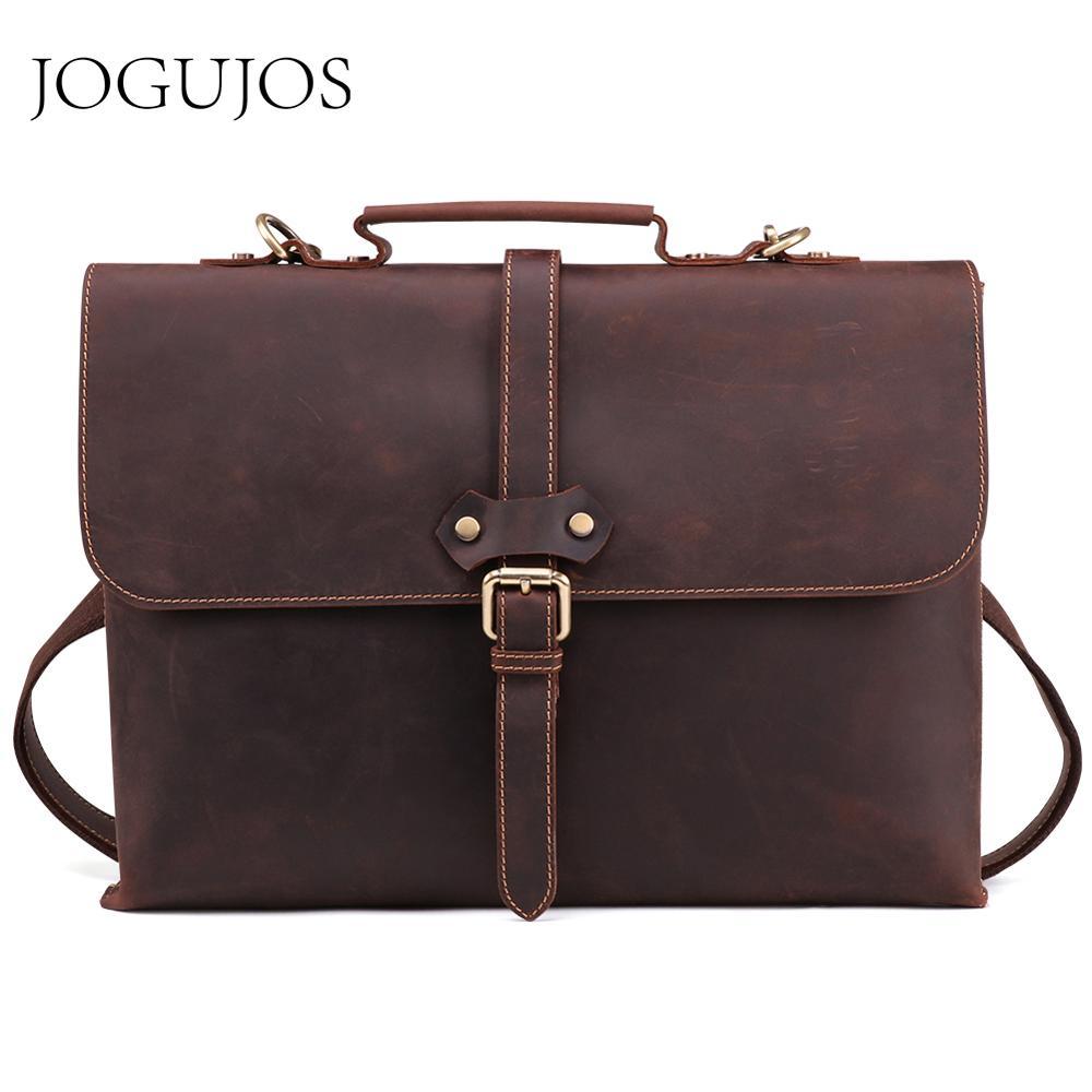 JOGUJOS Genuine Leather Men Briefcase Crazy Horse Leather Messenger Laptop Bag Business Shoulder Crossbody Bags Fashion Handbag