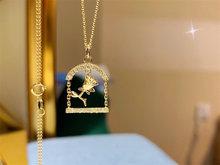 18K solide jaune vrai or bijoux (AU750) femmes concepteur chaîne saint valentin cadeau boîte Romantick Roses diamant collier pendentif