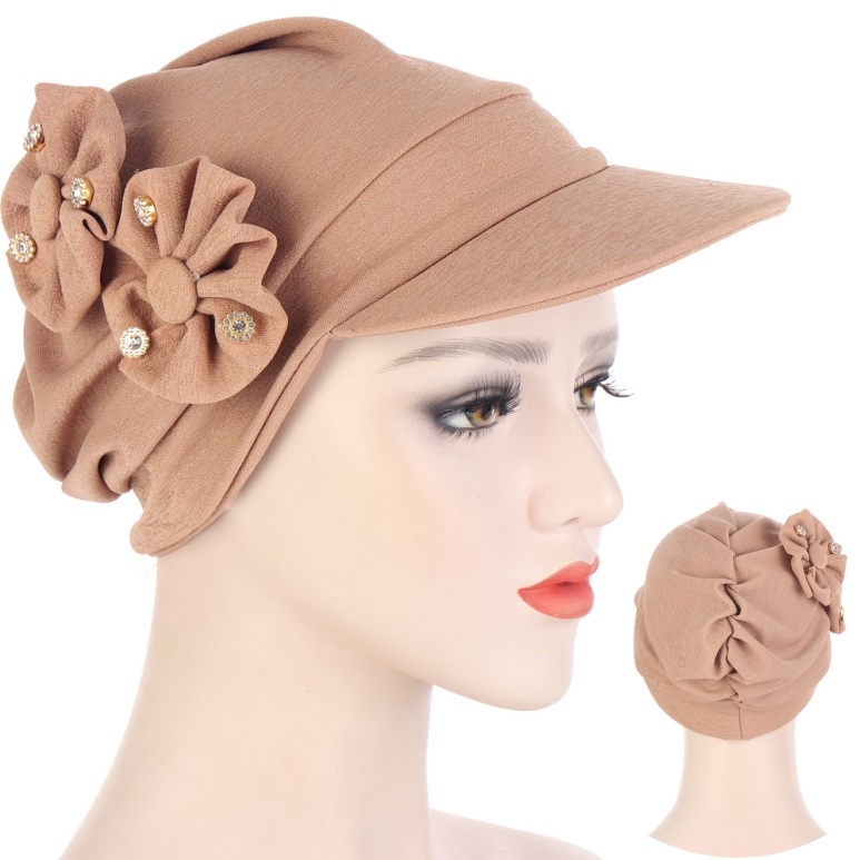 Women's Lateral Artificial Diamond Floral Beanie Bongrace Hats Spring SummerHat Muslim Stretch Turban Cap Hair Loss Headwear