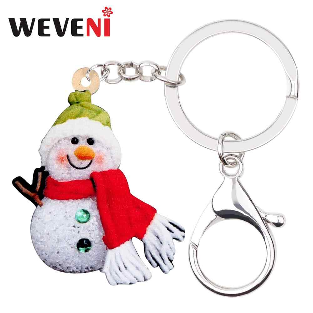 WEVENI Acrylic Christmas Smile Scarf Snowman Key Chains Key Rings Sweet Jewelry Car Bag Purse Keychains Girls Women Charms Gifts