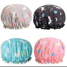 Nova unicórnio pônei adorável grosso feminino toucas de chuveiro colorido dupla camada banho chuveiro capa de cabelo adultos à prova dwaterproof água chapéus de cozinha venda