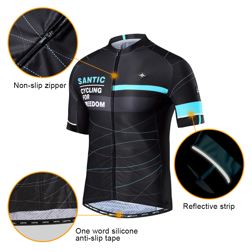 Santic-Men-Cycling-Jersey-Pro-Fit-Two-Colors-Antislip-Sleeve-Cuff-Road-Bike-MTB-Short-Sleeve
