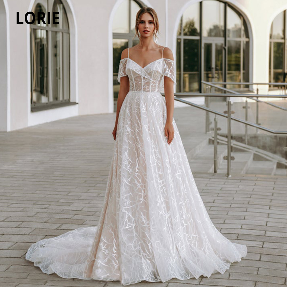 LORIE Lace Wedding Dresses Boho 2019 Off The Shoulder V-neck Sleeveless Beach Bridal Gowns Custom Made Sweep Train Plus Size
