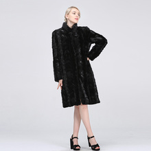 The 2019 new collection features a real patchwork mink coat jacket, natural for women, and 100cm long leather wint