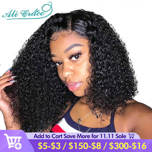 Image 1 - Ali Grace Brazilian Kinky Curly Bob Wig with Baby Hair 13x6 Pre Plucked Curly Bob Lace Front Wigs For Women Remy Curly Bob Wigs