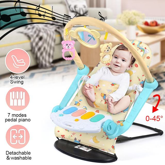 Baby Rocking Chair Multi-function 7 modes pedal piano Music Swing Chair Infant Comfort Newborn Folding Rocker Baby Product 1